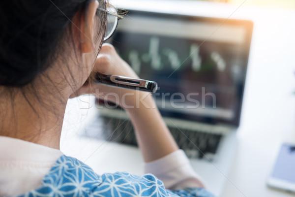 Woman Working Laptop huge Loft Studio.Student Researching Proces Stock photo © snowing