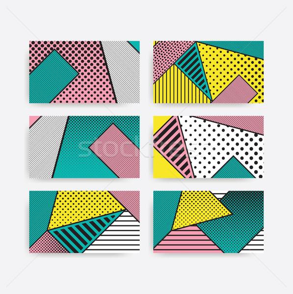Colorful trend pop art geometric pattern set Stock photo © softulka