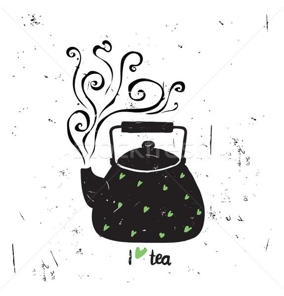 Sevmek çay siyah pot buhar yeşil Stok fotoğraf © softulka