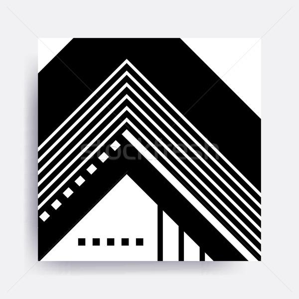 Zwart wit geometrisch patroon blokken ontwerp communie Stockfoto © softulka
