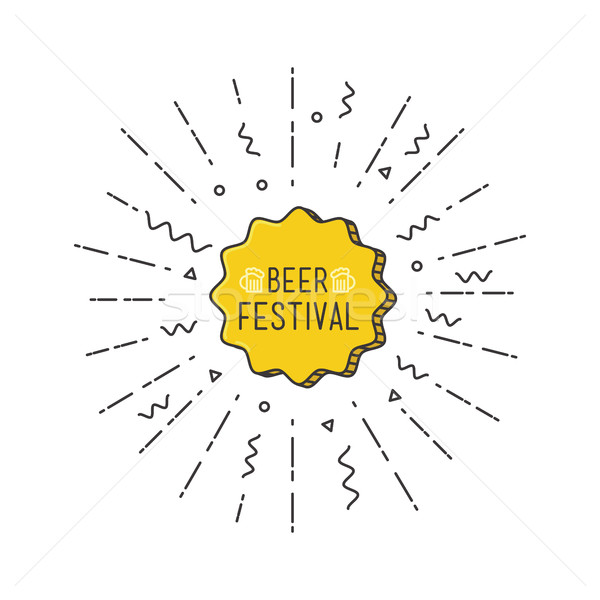 Beer festival shining banner, colorful background in flat style Stock photo © softulka
