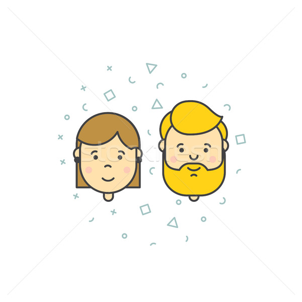 man woman user icons Stock photo © softulka