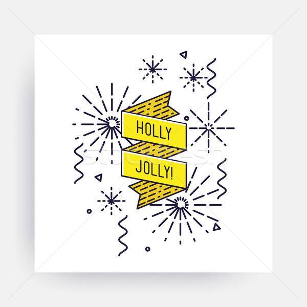 Allegro Natale buon anno capodanno design lineare Foto d'archivio © softulka