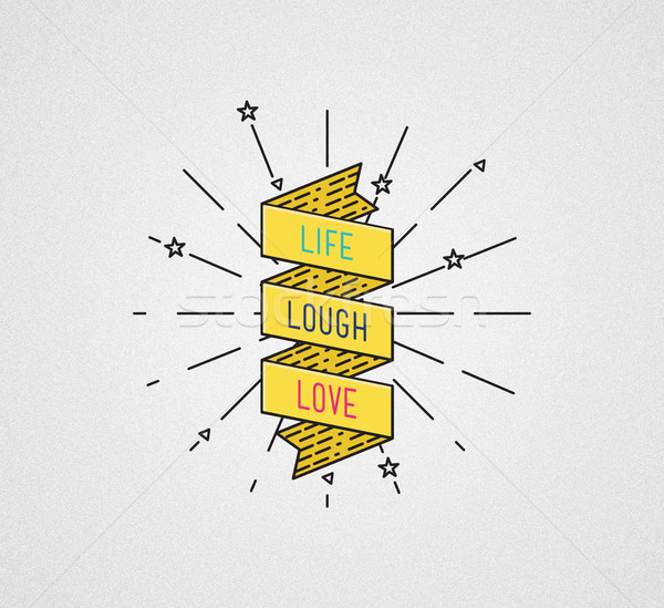 Stock photo: Live laugh love. Inspirational illustration, motivational quotes