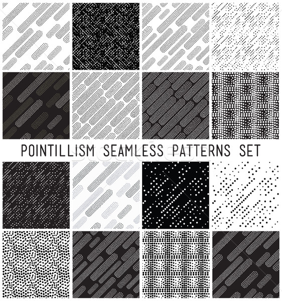Vector lineal geometric seamless patterns set Stock photo © softulka