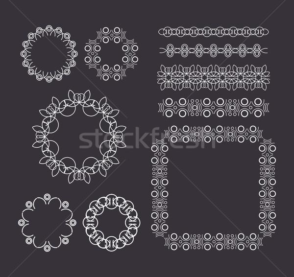 Vektör geometrik hatları sınır kareler ayarlamak Stok fotoğraf © softulka