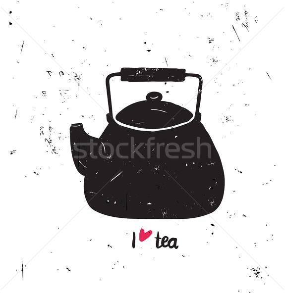 Sevmek çay siyah pot siluet el Stok fotoğraf © softulka
