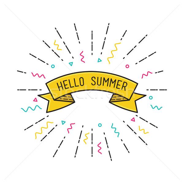 Merhaba yaz vektör poster dizayn ilham verici Stok fotoğraf © softulka