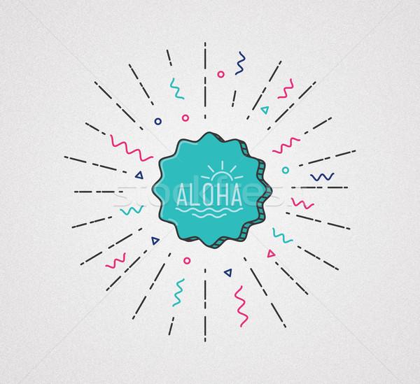 Aloha illusztráció trópusi egzotikus grafika szalag Stock fotó © softulka