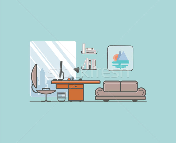 Flat minimalistic style. Creative office with laptop, desk, lamp Stock photo © softulka