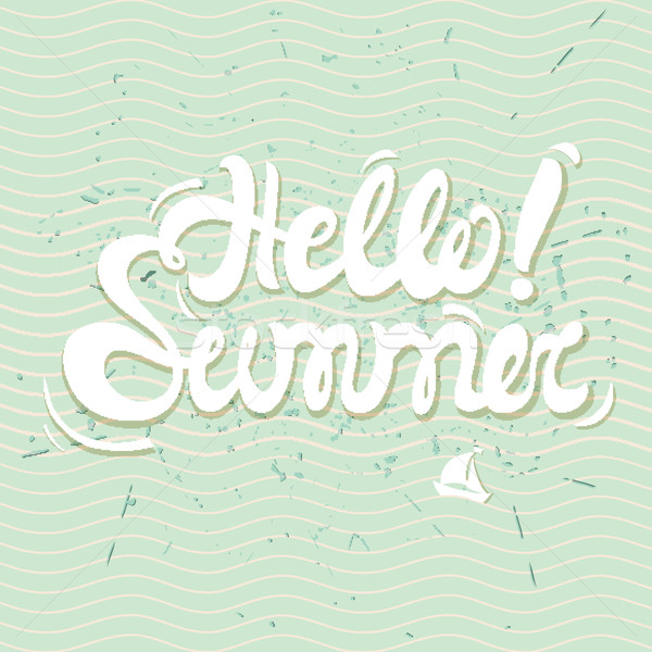 Hello summer poster, lettering with conceptual background Stock photo © softulka