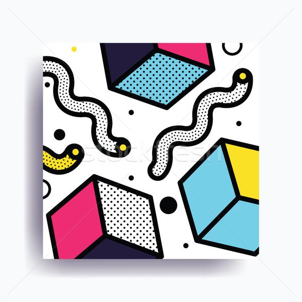 Coloré tendance motif géométrique lumineuses blocs couleur Photo stock © softulka