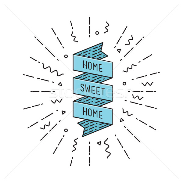 Home sweet. Inspirational vector illustration, motivational quotes flat poster Stock photo © softulka