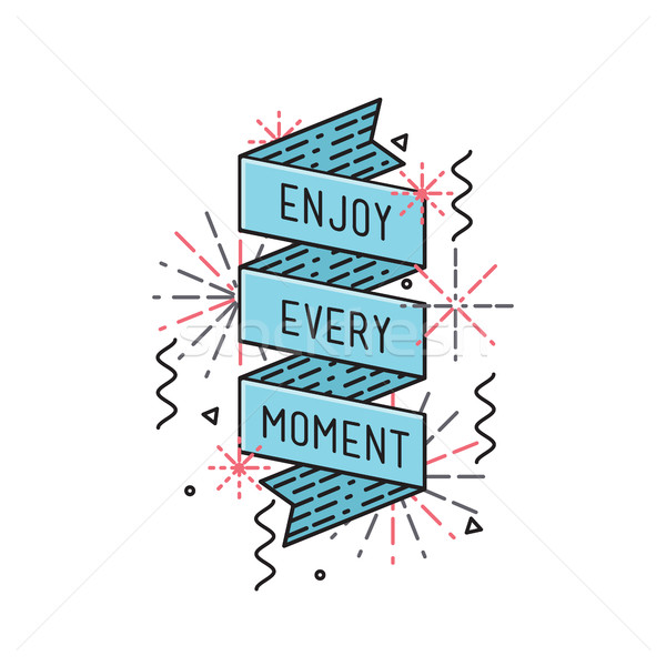 Enjoy every moment Inspirational vector illustration, motivational quotes flat poster Stock photo © softulka