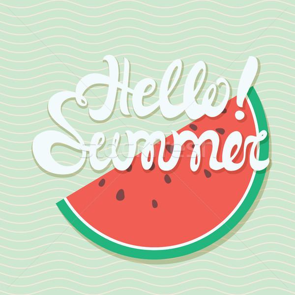 Olá verão cartaz marinha padrão de onda melancia Foto stock © softulka