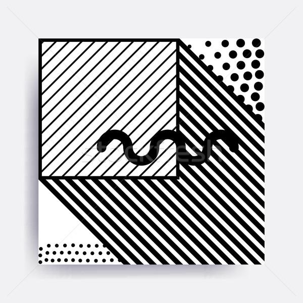 Siyah beyaz geometrik desen bloklar dizayn elemanları Stok fotoğraf © softulka