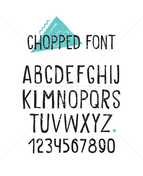 Line simple chopped font. Universal alphabet with capital letter Stock photo © softulka