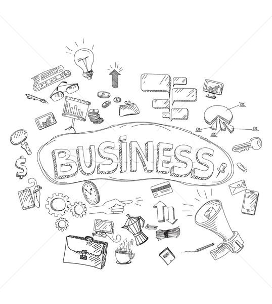 набор болван иконки бизнеса рисованной знак Сток-фото © softulka