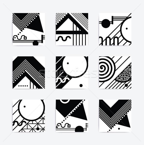 Siyah beyaz geometrik dizayn minimalist yaratıcı vektör Stok fotoğraf © softulka
