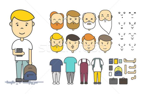 Uomo carattere creazione set colorato lineare Foto d'archivio © softulka