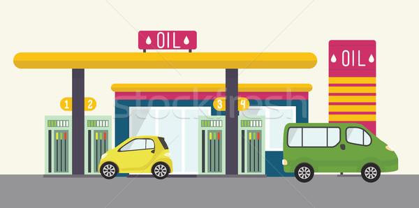 Сток-фото: вектора · пейзаж · иллюстрация · городского · АЗС · нефть