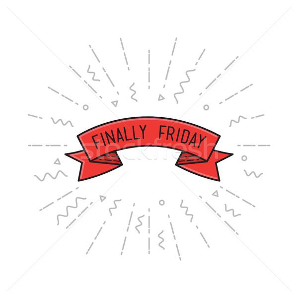 Black Finally friday. Vector illustration, motivational quotes poster design flat Stock photo © softulka