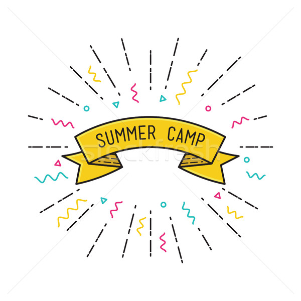 Vector summer camp poster in flat design Stock photo © softulka