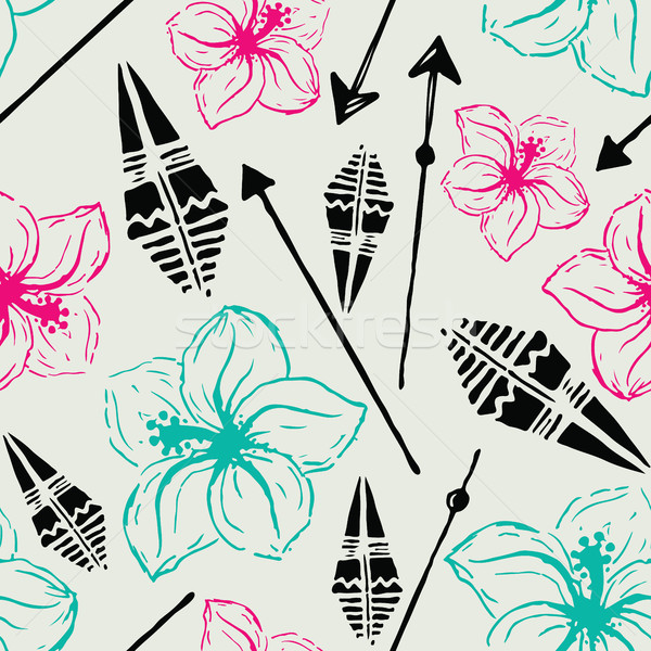 Vector seamless pattern. Universal colorful summer hawaiian flow Stock photo © softulka