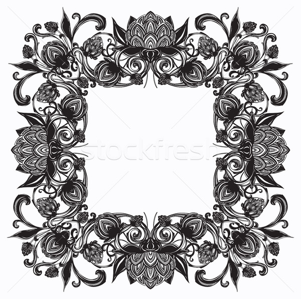 Vintage baroque flourish luxurious frame, hop cones Stock photo © softulka