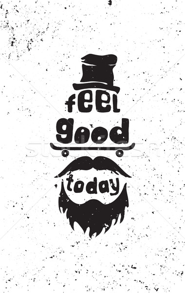 Feel good today. Hipster, mustaches, beard, skate, hat Stock photo © softulka