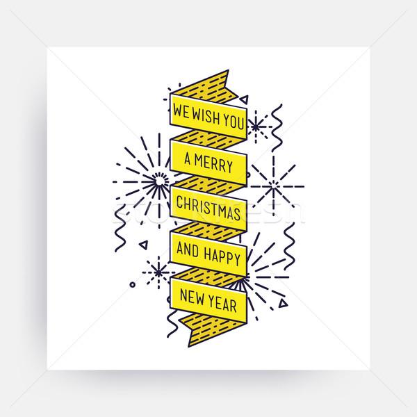 Joyeux Noël happy new year nouvelle année design linéaire Photo stock © softulka