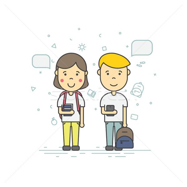 Sevimli Öğrenciler renkli moda doğrusal Stok fotoğraf © softulka