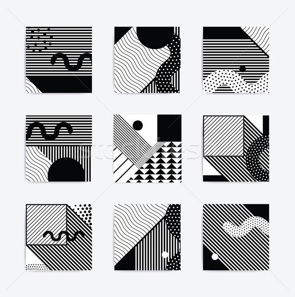 Siyah beyaz geometrik poster eğilim ayarlamak bloklar Stok fotoğraf © softulka
