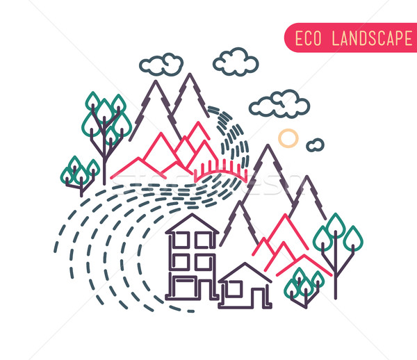 Thin line landscape flat eco design, rural background Stock photo © softulka