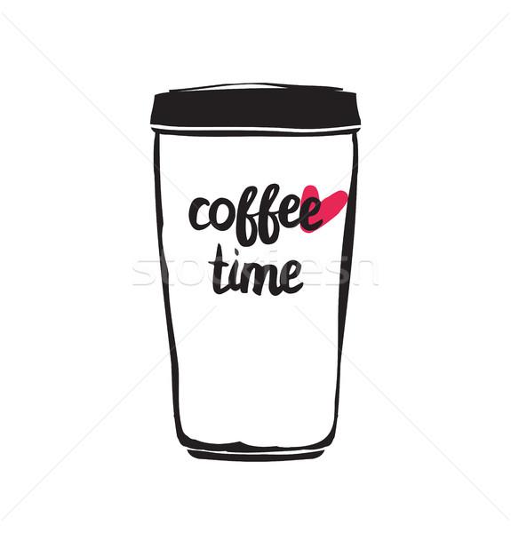 Vintage stilizzato poster tazza di caffè caffè Foto d'archivio © softulka