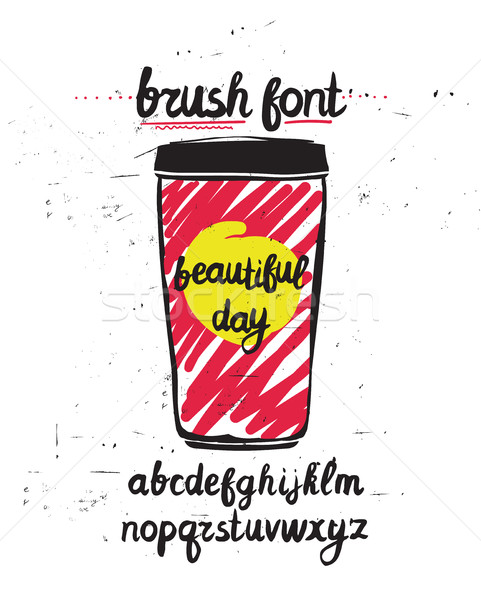 Vector handwritten brush letters on grunge background. Hand draw Stock photo © softulka