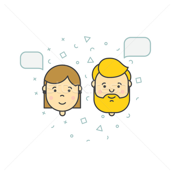 Stock photo: man woman speech bubble icons