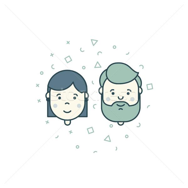 man woman user icons Stock photo © softulka