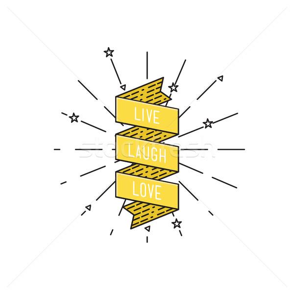 Yaşamak gülmek sevmek ilham verici motivasyon tırnak işareti Stok fotoğraf © softulka