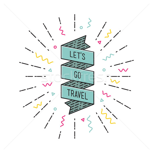 Lets go travel. Inspirational vector illustration, motivational quotes flat Stock photo © softulka