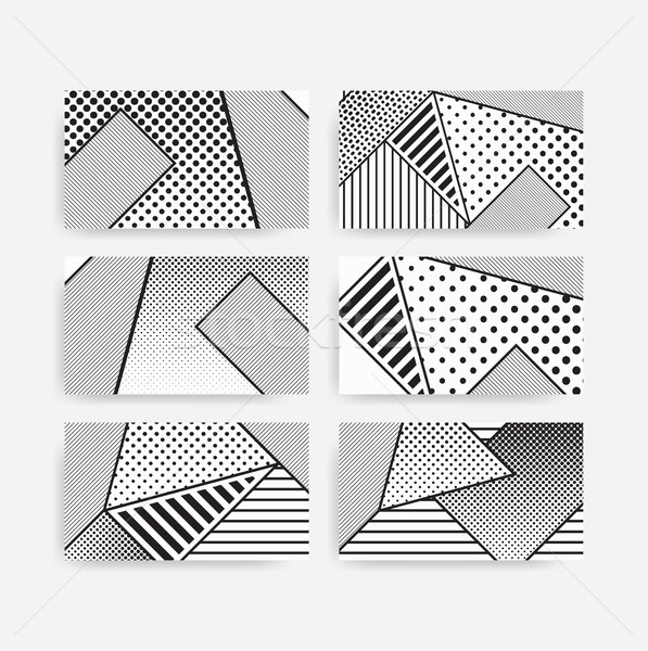 black and white pop art geometric pattern set  Stock photo © softulka