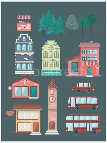 Ayarlamak binalar araba otobüs kahvehane dizayn Stok fotoğraf © softulka