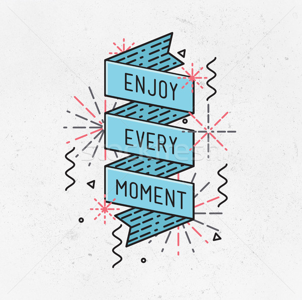 Disfrutar momento ilustración motivacional comillas Foto stock © softulka