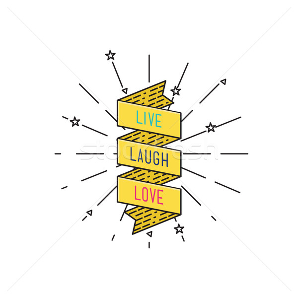 Live laugh love. Inspirational vector illustration, motivational quotes flat poster Stock photo © softulka