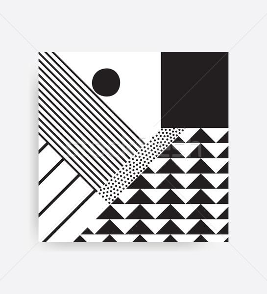 Siyah beyaz geometrik desen parlak bloklar renk Stok fotoğraf © softulka