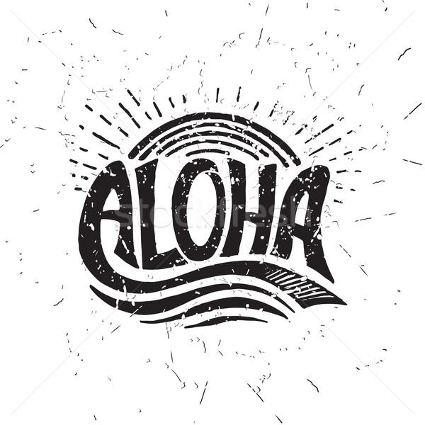 Aloha szörfözik vektor kalligráfia illusztráció kézzel készített Stock fotó © softulka
