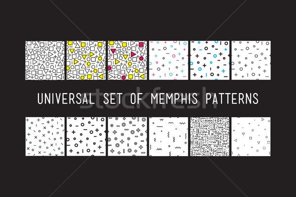 Set of universal vector fashion geometric seamless patterns Stock photo © softulka