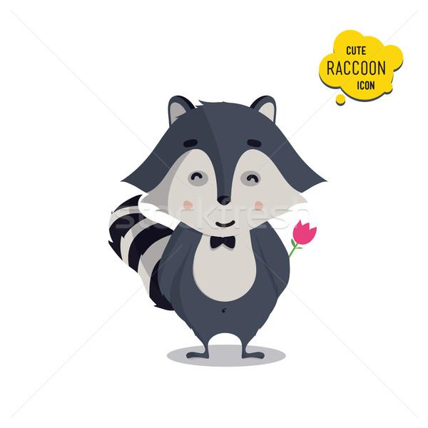 Foto stock: Universal · cute · establecer · familia · mapache · pie