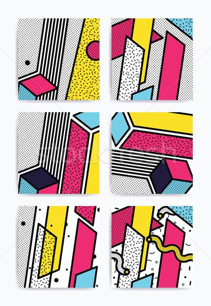 Renkli pop art ayarlamak geometrik desen parlak bloklar Stok fotoğraf © softulka