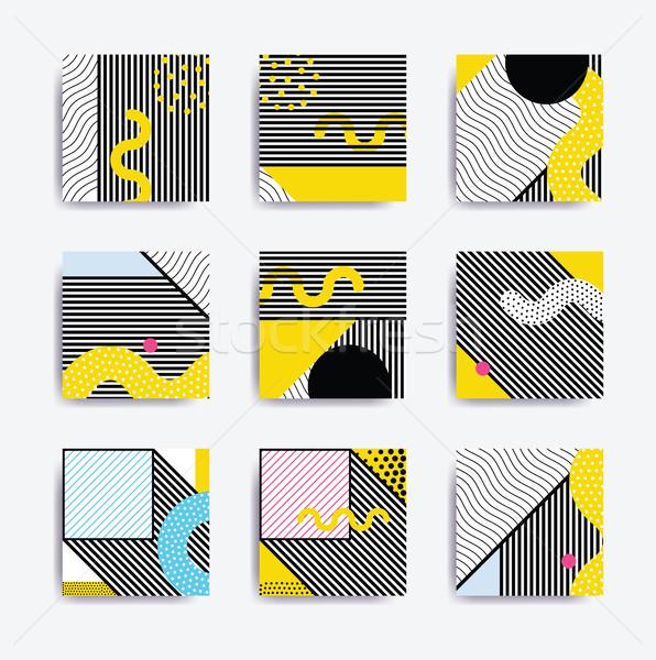 Colorful trend Neo Memphis geometric poster Stock photo © softulka